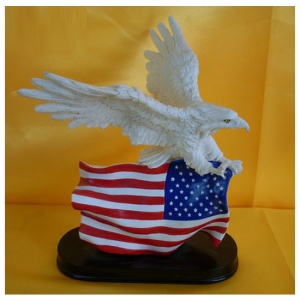 White Eagle with American Flag