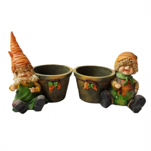 Carrot head boy and girl sitting figurine Pot