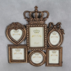 Antique Gold Crown Multi Photo Frame Large